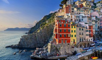 Riomaggiore, Italy - Sept 11, 2015: Sunset in Riomaggiore, one of the five village in the famous